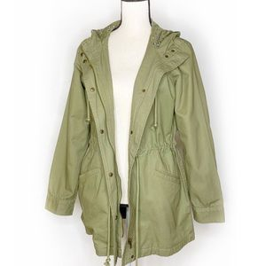 LUCKY BRAND Army Green Drawstring Hooded Jacket S